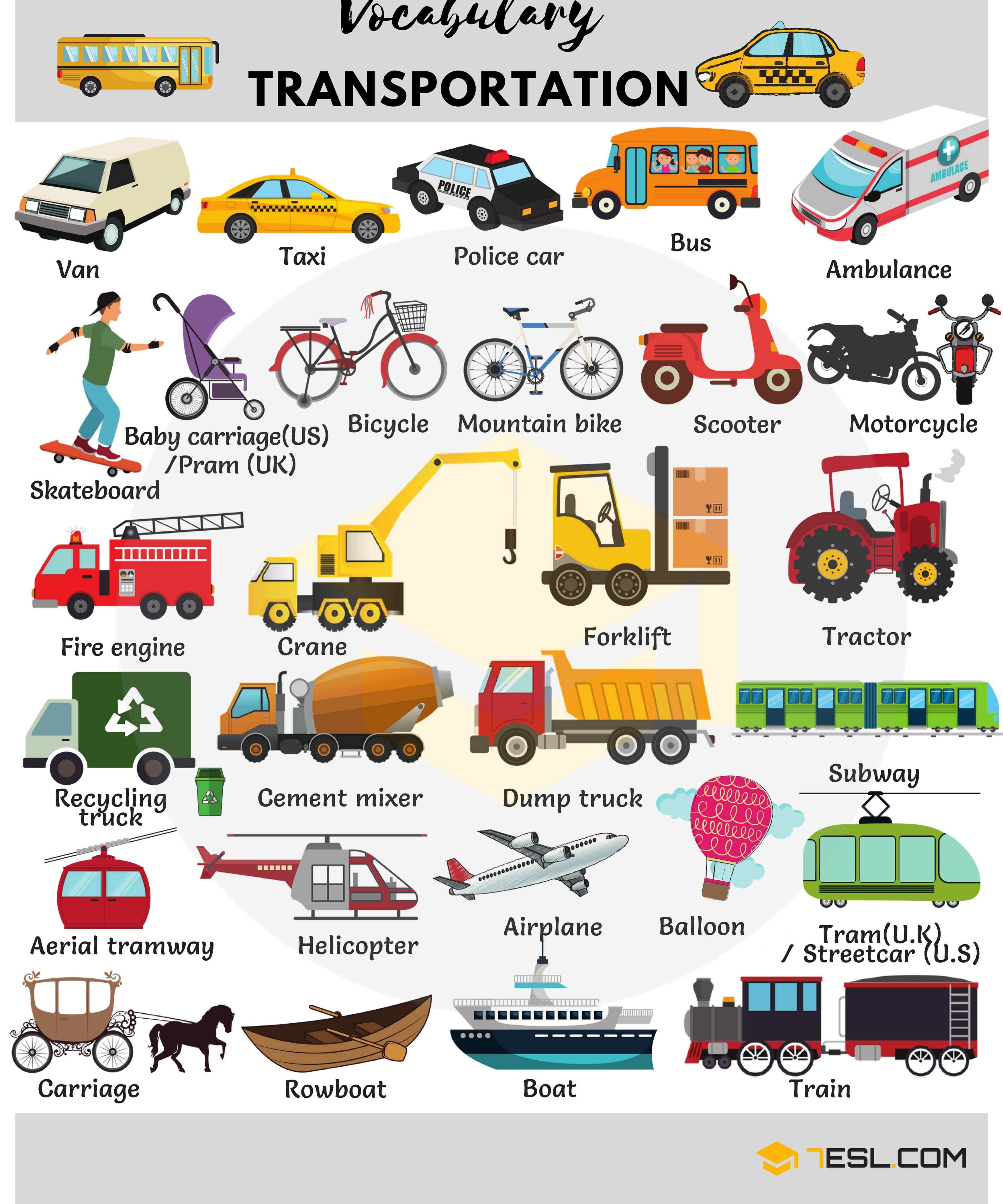 Vehicles And Transportation Vocabulary In English With Images