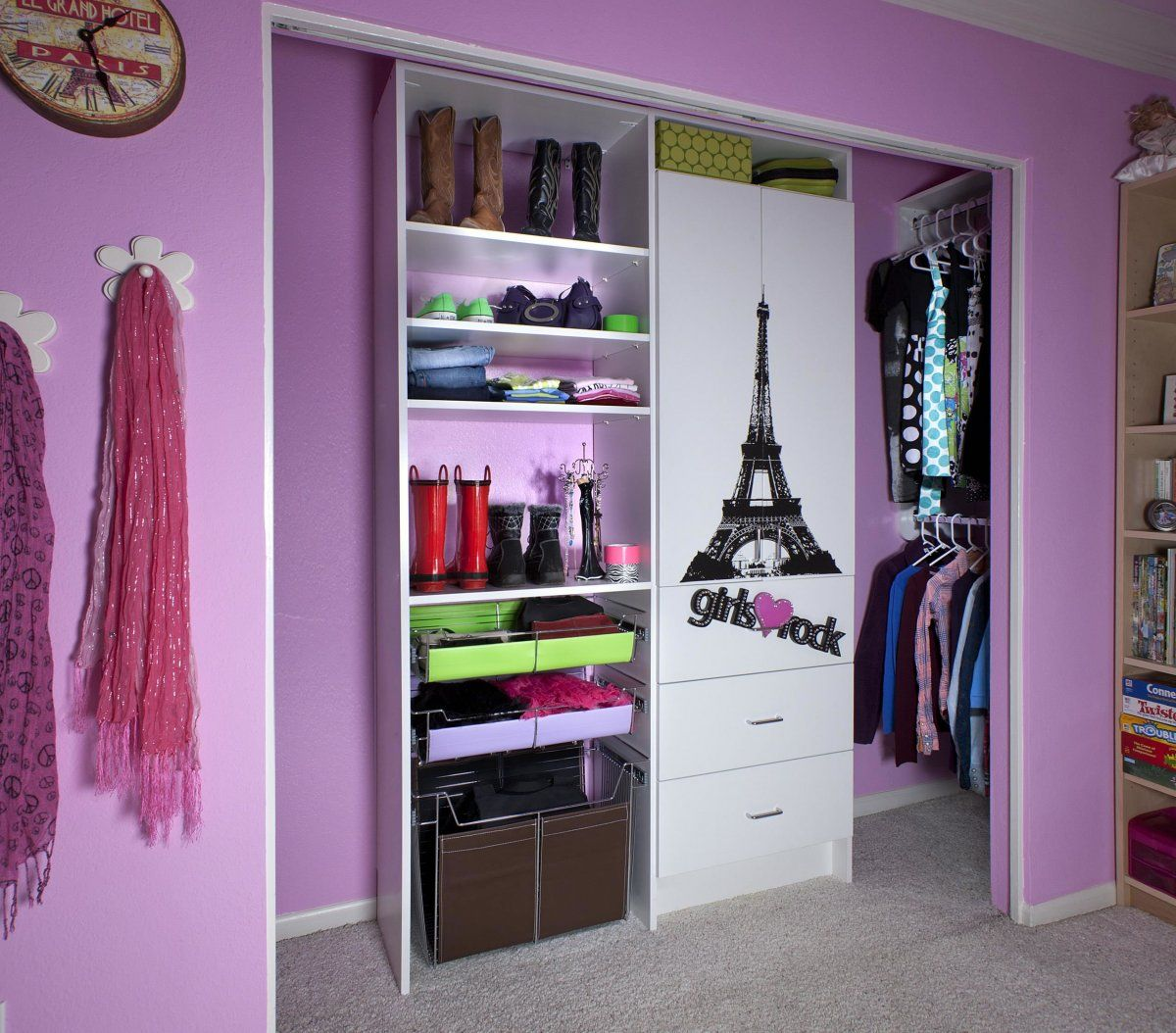 Exceptional Cute Closet Organization Ideas Part - 4: Beautiful Cute Purple-Pink Girls Closet Organizer U0026 Storage Design Ideas  For Girls Bedrooms,