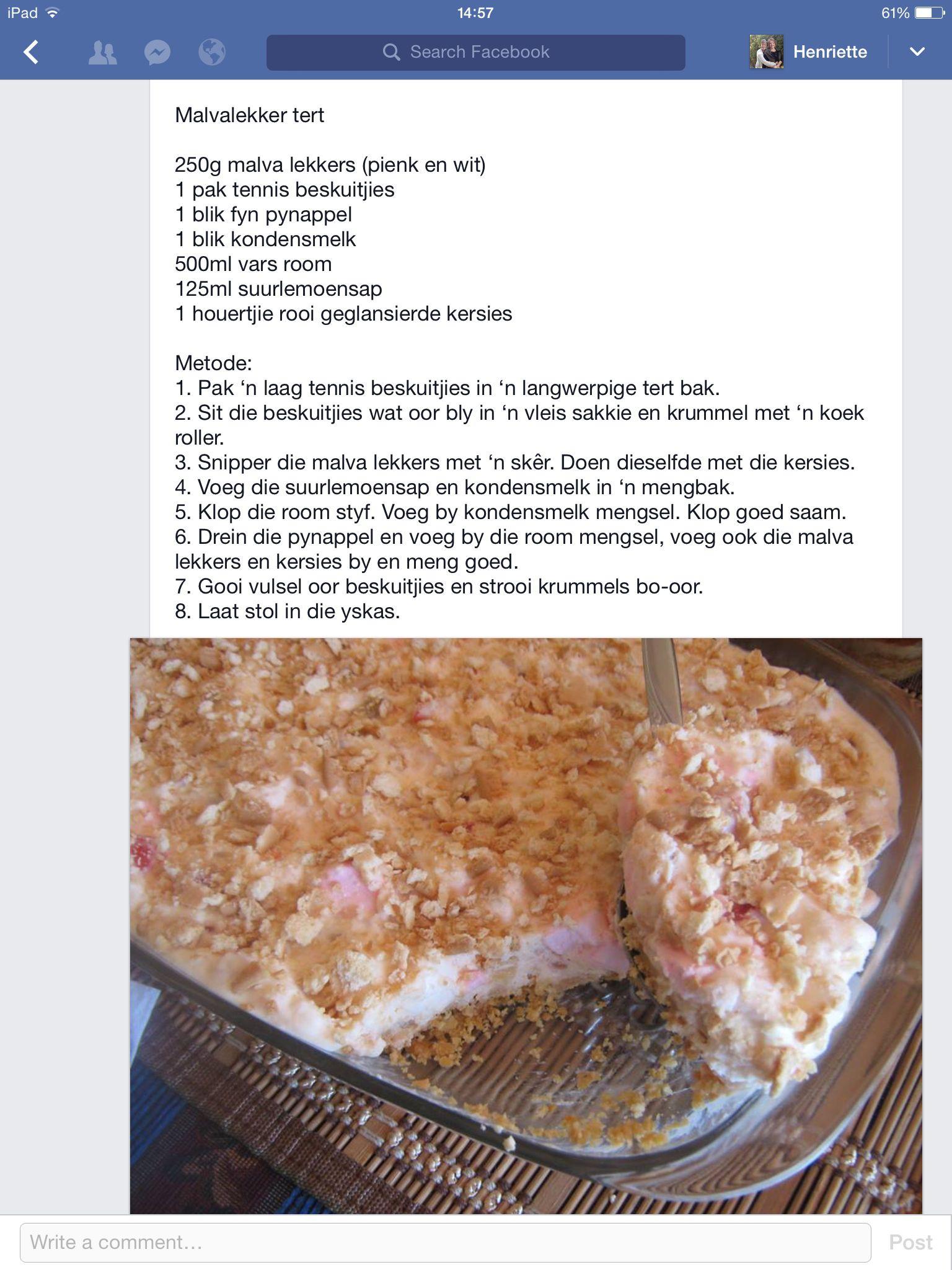 Malva lekker tert desserts yummy pinterest malva lekker tert forumfinder Images