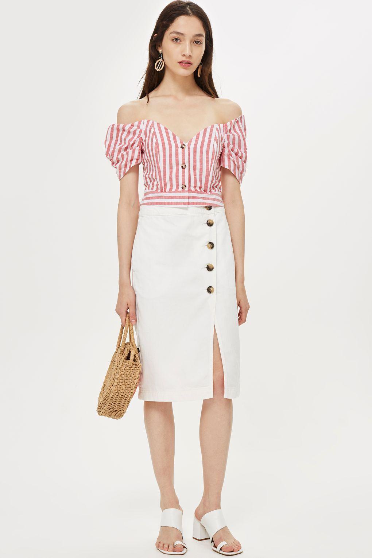 870184fe1fd6 Stripe Puff Sleeve Bardot Top - Shirts & Blouses - Clothing - Topshop USA