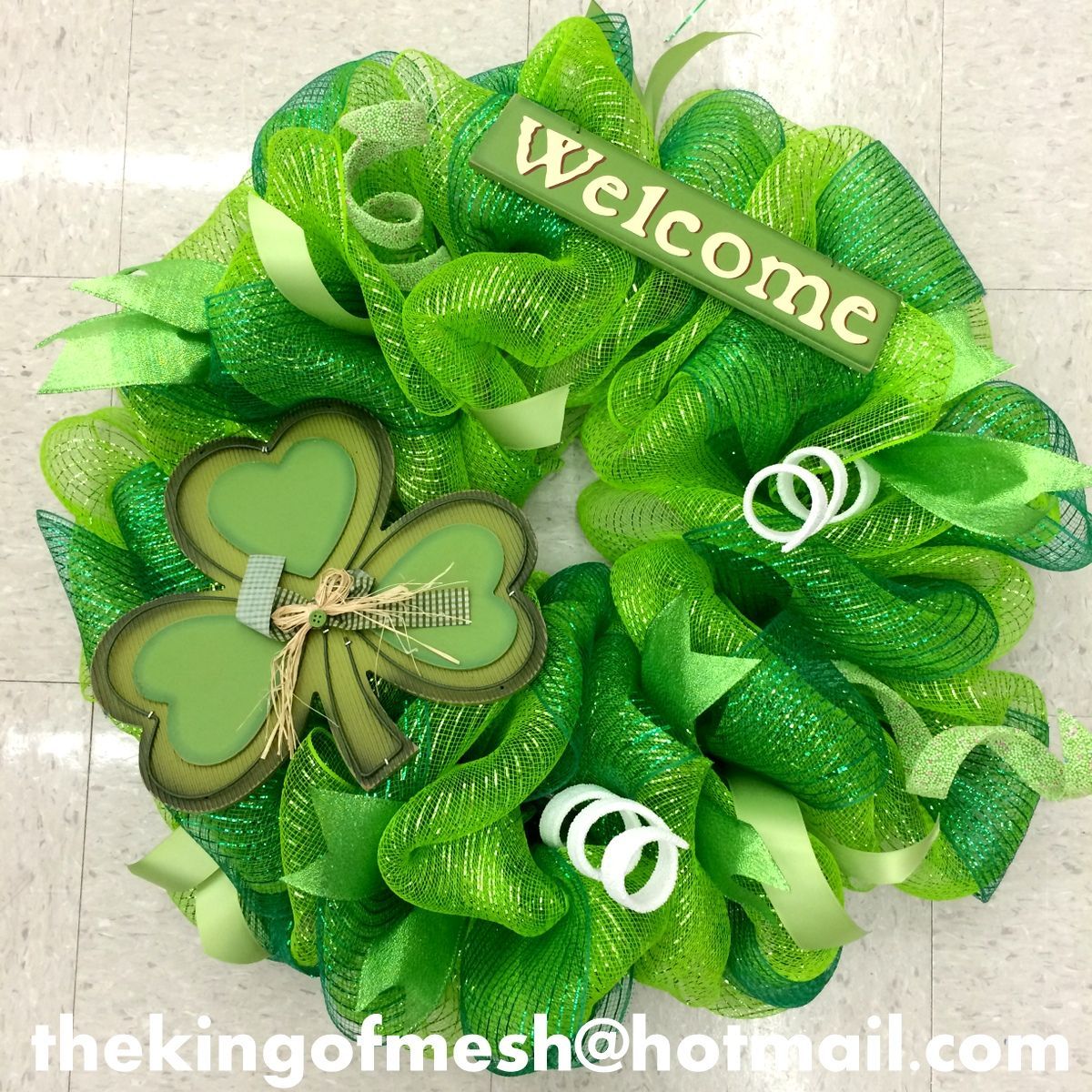 Create your own St Patrick's Mesh Wreath or order yours at: thekingofmesh@hotmail. com - Introducing my newest #meshwreath from latest #StPatricks collection. I got all my supplies at @MichaelsStores #craftssupplies #decomesh #custom #mesh #michaelsstores @thekingofmesh #homedecor #polydecomesh #green #shamrock #ribbon