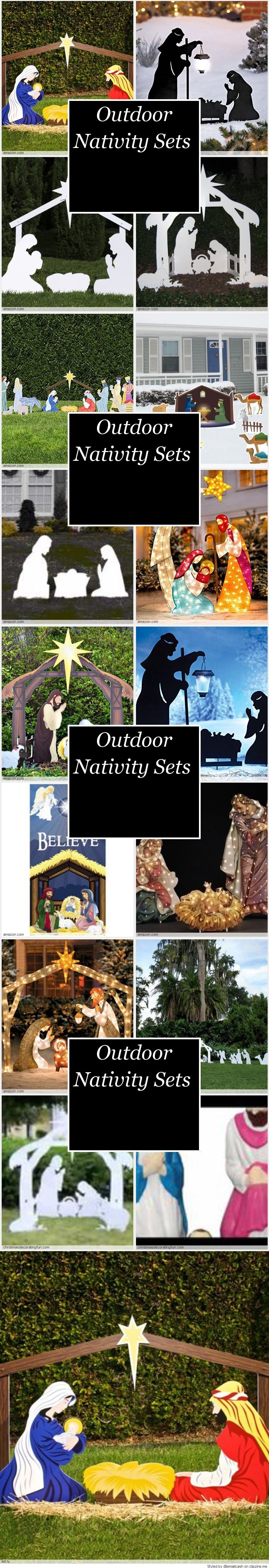 Elegant Lighted Nativity Scene Outdoor