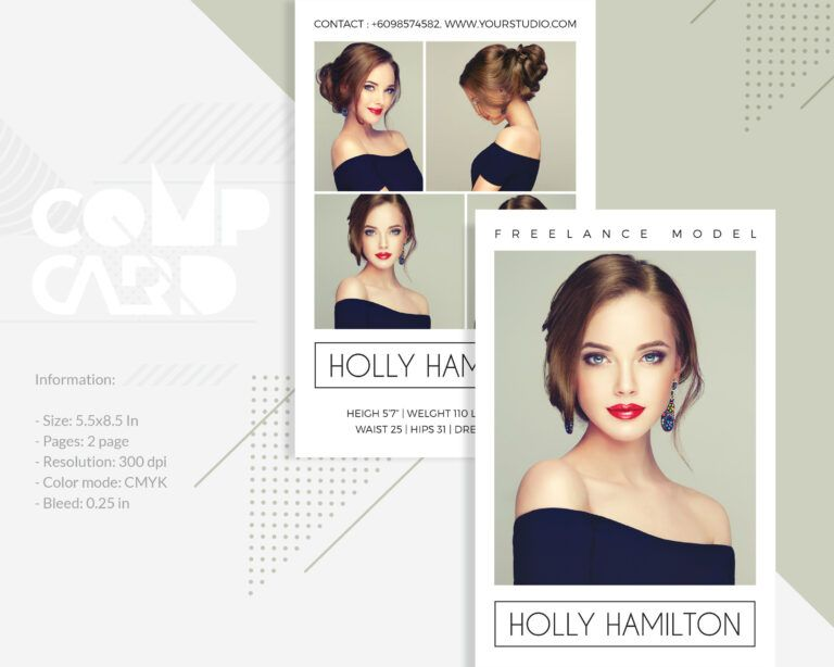 modeling comp card  fashion model comp card template