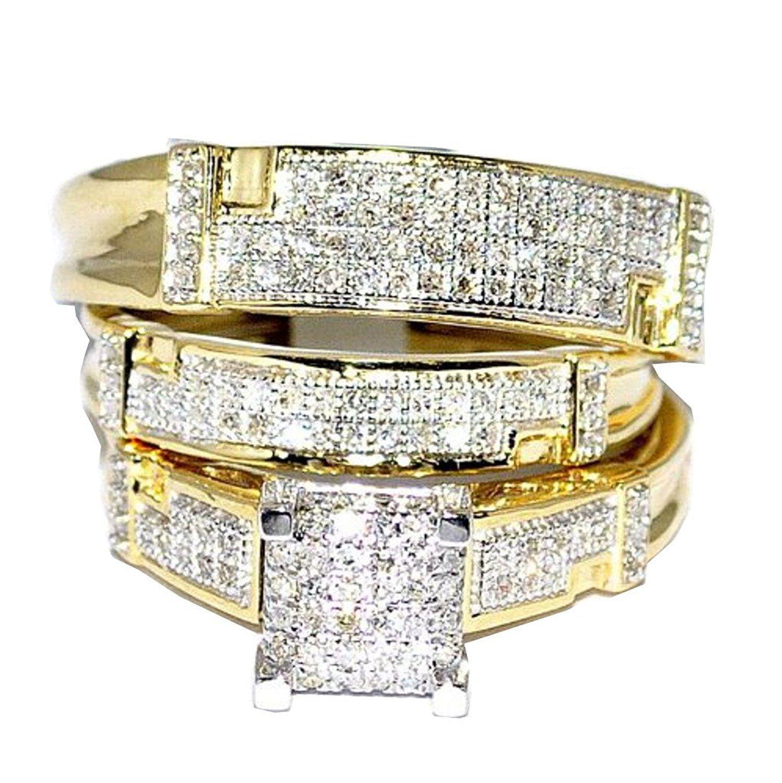 Yellow Gold Trio Wedding Set Mens Women Rings Real 1/2cttw ...