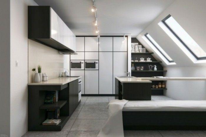 Dachgeschosswohnung kücheneinrichtung dachschräge deko ideen - designer kchen deko