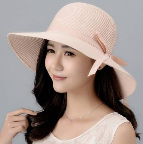 Large wide brim bow straw hat for ladies uv summer sun protection hats