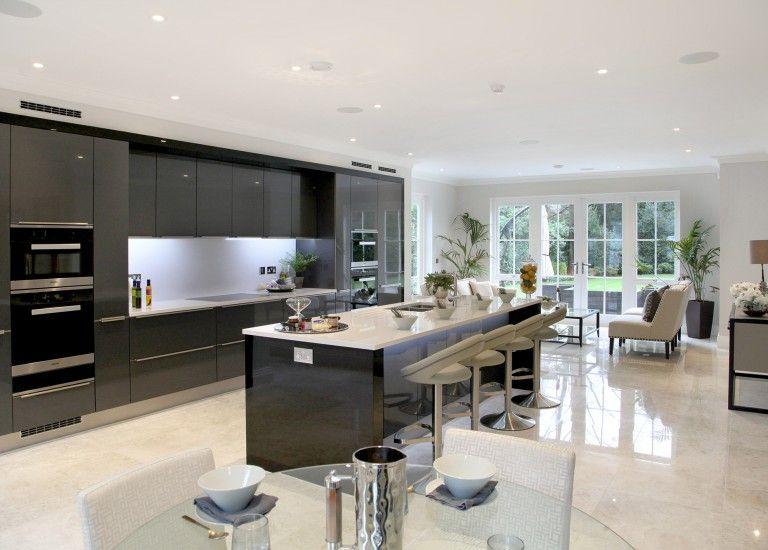 Earlswood House Open Plan Kitchen with Breakfast Bar Island ...