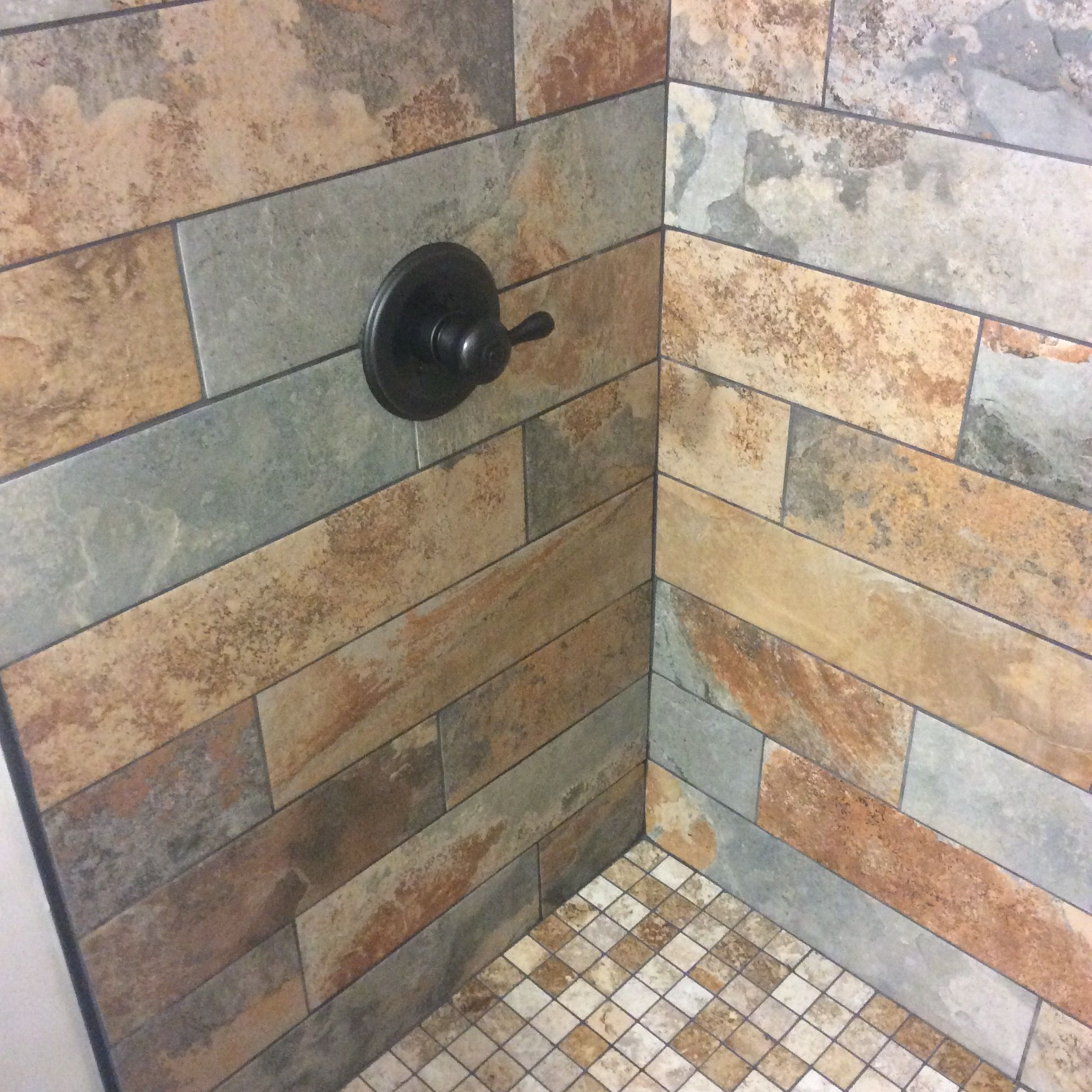 We Installed Slate Tiles With Mosaic Shower Base And Weathered Wood Look Ceramic Tile Floor