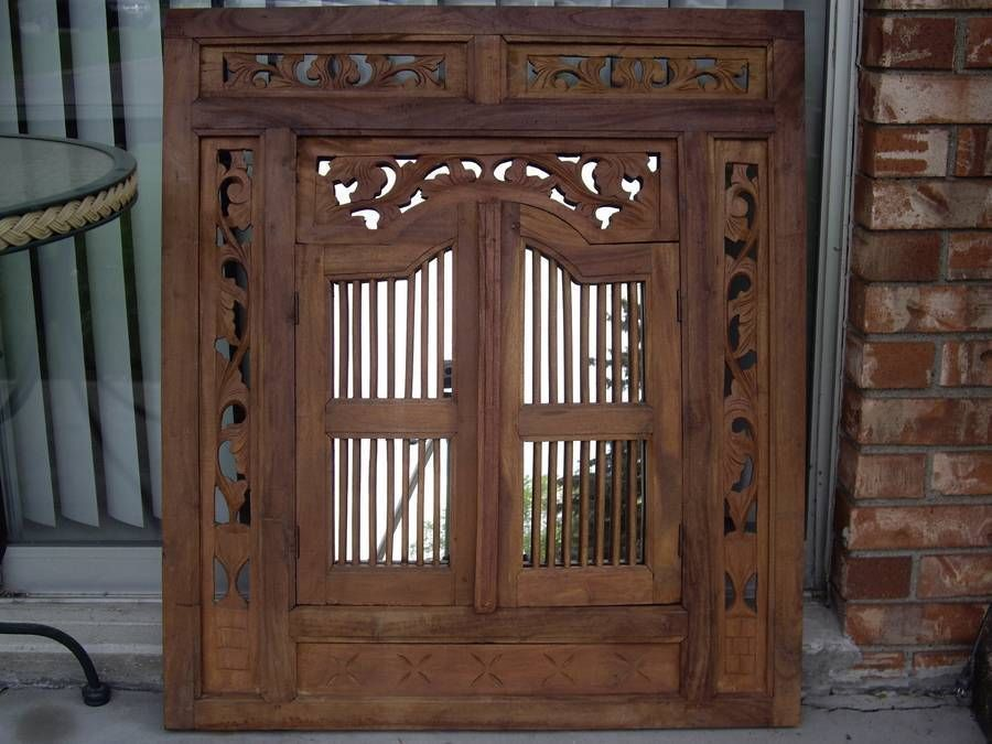 Vintage Large Carved Wood Shutter Wall Hanging Mirror Home