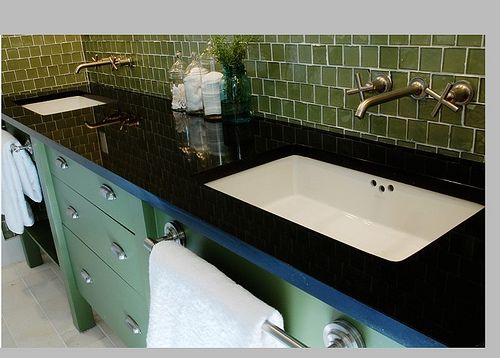 Towel bars in front of sink - genius!