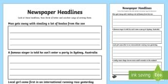 Newspaper Headline Writing Activity Sheet  Newspaper Headline