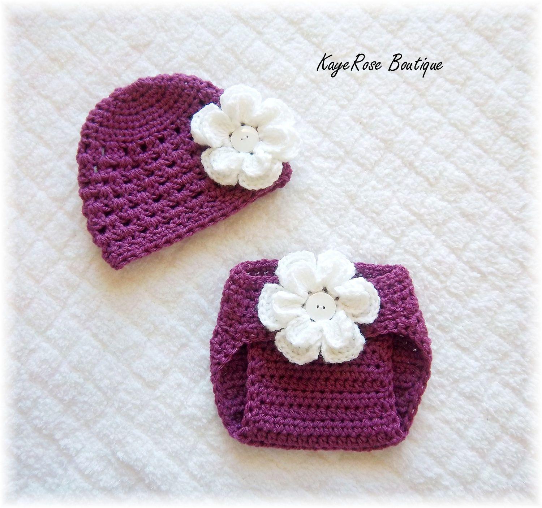 Crochet Flower Hat & Diaper Cover Set | baby | Pinterest | Gorros