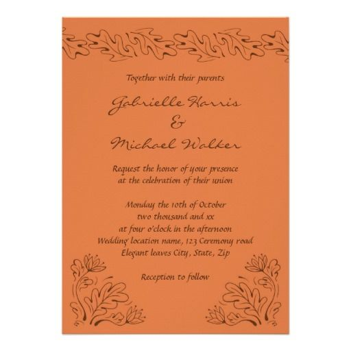 Elegant leaves and autumn bloom terracotta wedding card Terracotta - best of invitation card about wedding