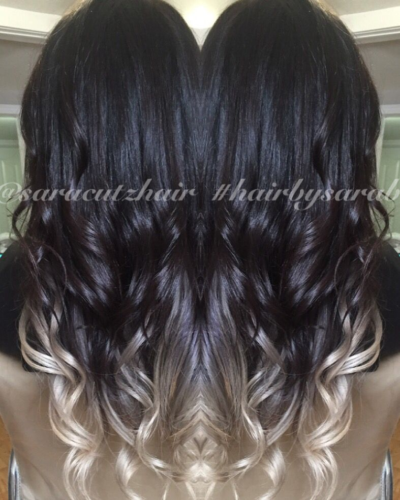 Icy Ombre Sombre Icy White Ends And Dark Rich Black Nano Tip Extensions Long Hair Color Hair Makeover Hair