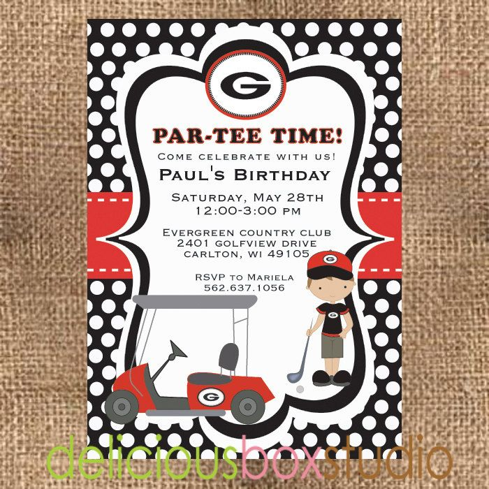 Georgia Bulldogs Golf Party Invitation.