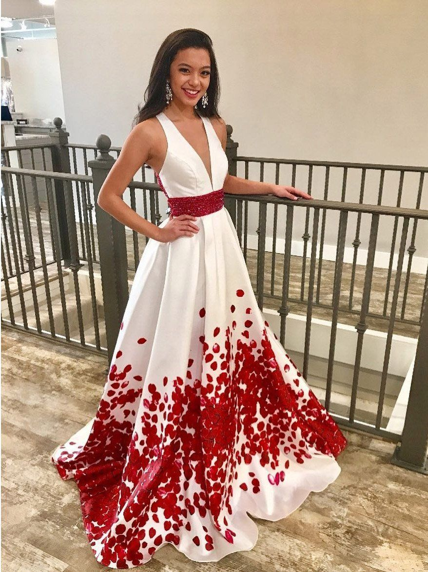 Red beaded floral printed long prom dresses with deep vneck formal