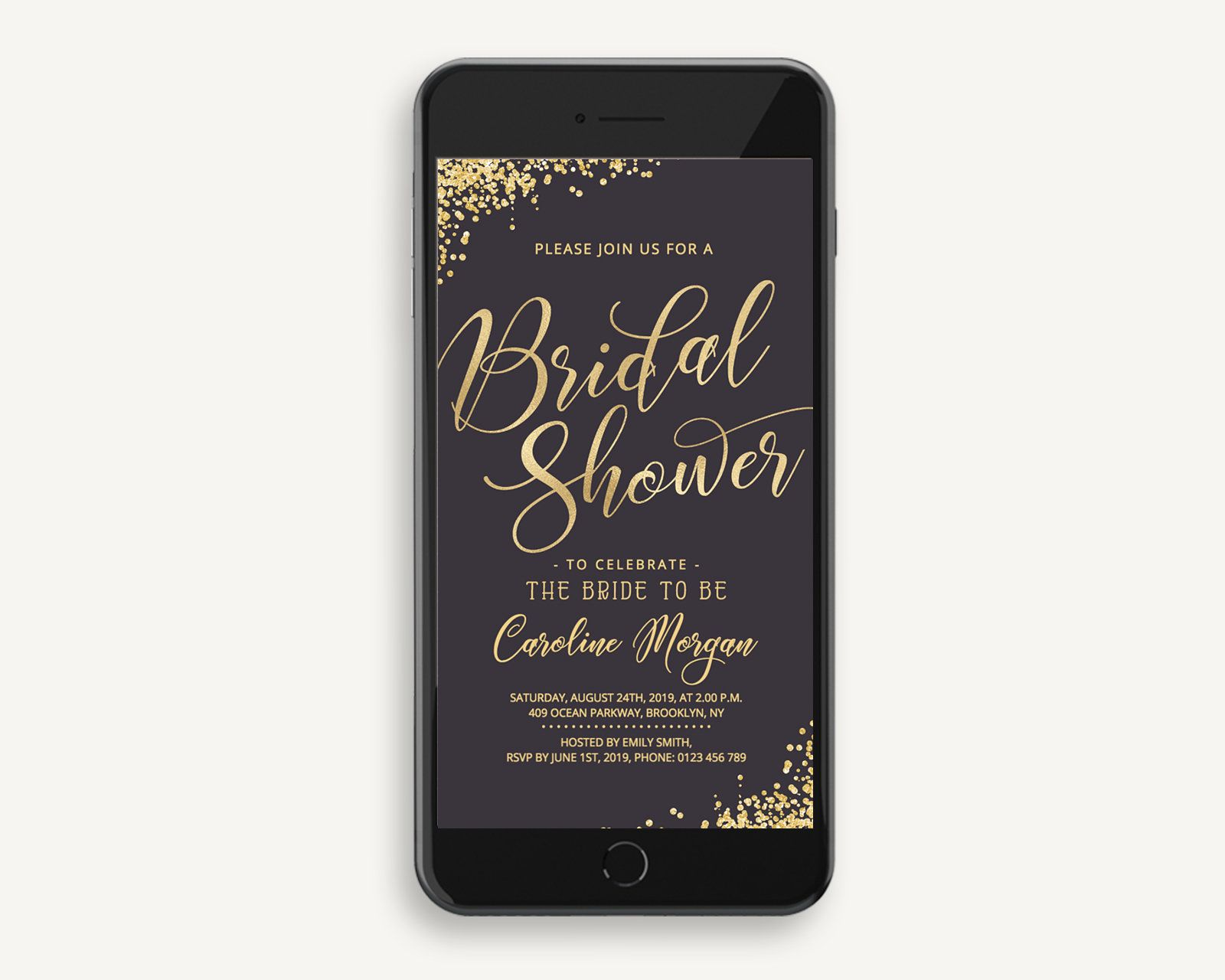 4a27ee81d2a Electronic Bridal Shower Gold   Rose Gold Invitation with