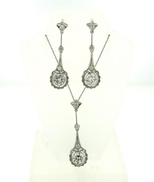 14k Gold White Stone Drop Earrings Necklace Set Featured in our upcoming auction on July 26!