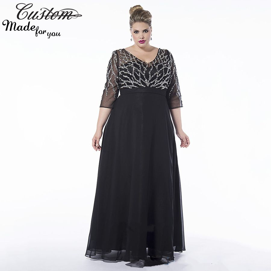 Customize Three Quarter Sleeves Evening Party Dress Long Chiffon Black Mother Of The Br Chiffon Lace Dress Mother Of The Bride Dresses Black Dress With Sleeves