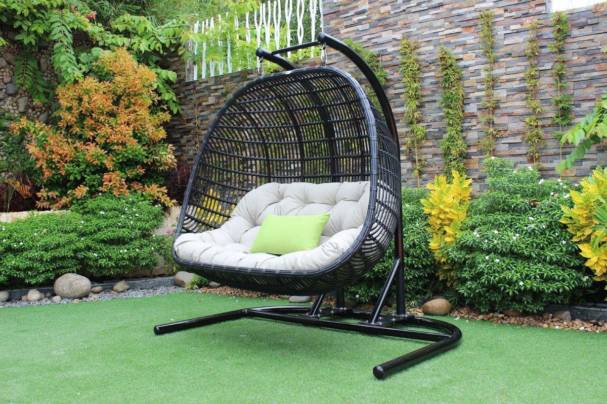 Renava san juan outdoor black u beige hanging chair hanging chair