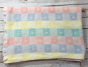 Vintage Beacon Baby Blanket 36x50 Pastel Block Squares Cotton Woven Wpl 1675 Ebay Blanket Blanket Set Baby Blanket
