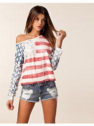 American Flag Top Off Shoulder