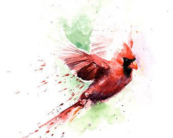 PRINT  Cardinal   Mixed Media Collage  8 X 10 by apinchofwonderful