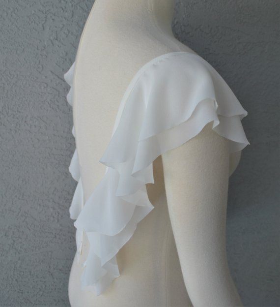 Detachable Ivory Or White Chiffon Fabric Butterfly Sleeves