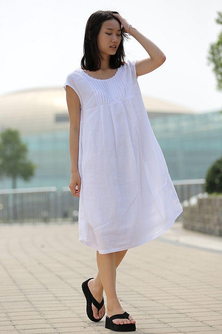 White Linen Dress Linen Dress Summer Boho Dress Cool Etsy Cotton Boho Dress Cotton Dress Summer Linen Dress Women [ 1125 x 750 Pixel ]