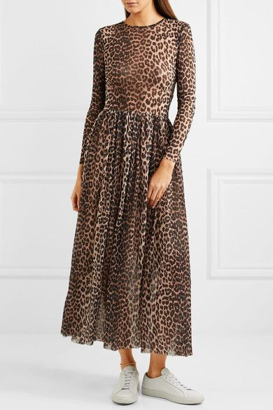 2b2b1748 GANNI - Tilden leopard-print stretch-mesh maxi dress | I'm loving it ...