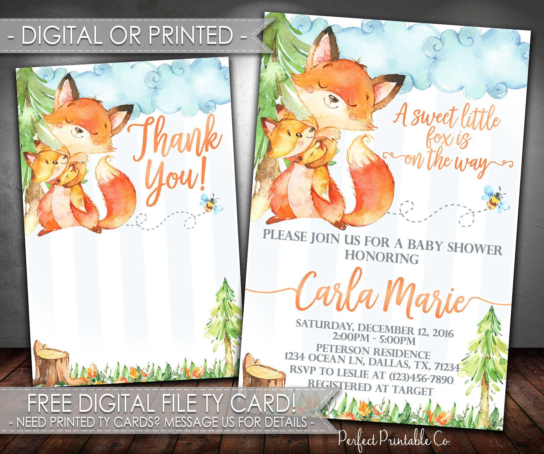Fox Baby Shower Invitation Fox Invitation Woodland Fox