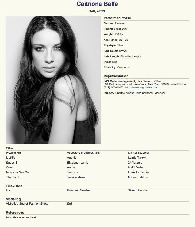 Caitriona Balfe Boyfriend | Caitriona Balfe Resume, courtesy imdb ...