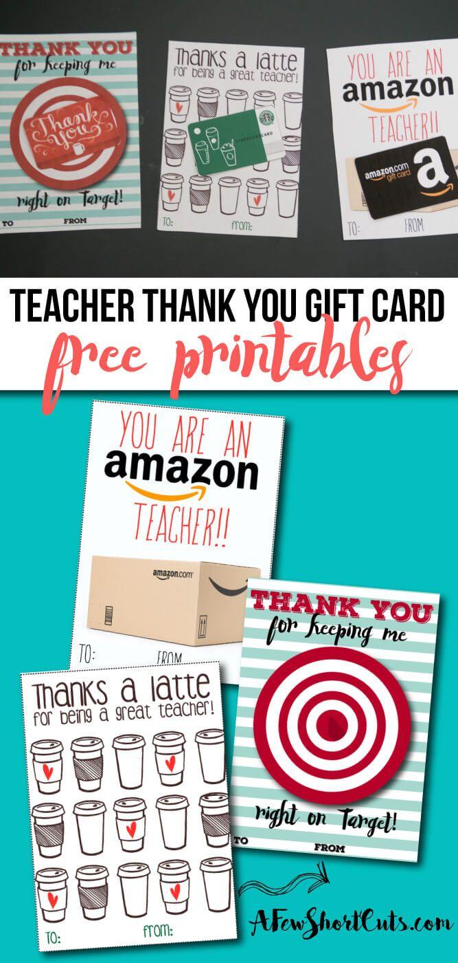 Free Teacher Gift Card Printable Thank You Card Idea Teacher