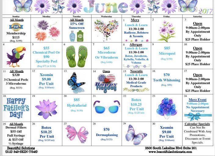June 2017: Beautiful Solutions Med-Spa Calendar specials ...