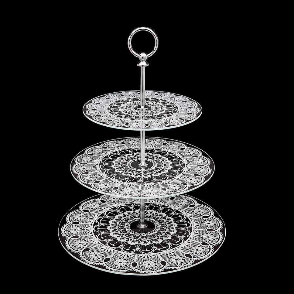 Glass Lace 3 Tier Serving Tray