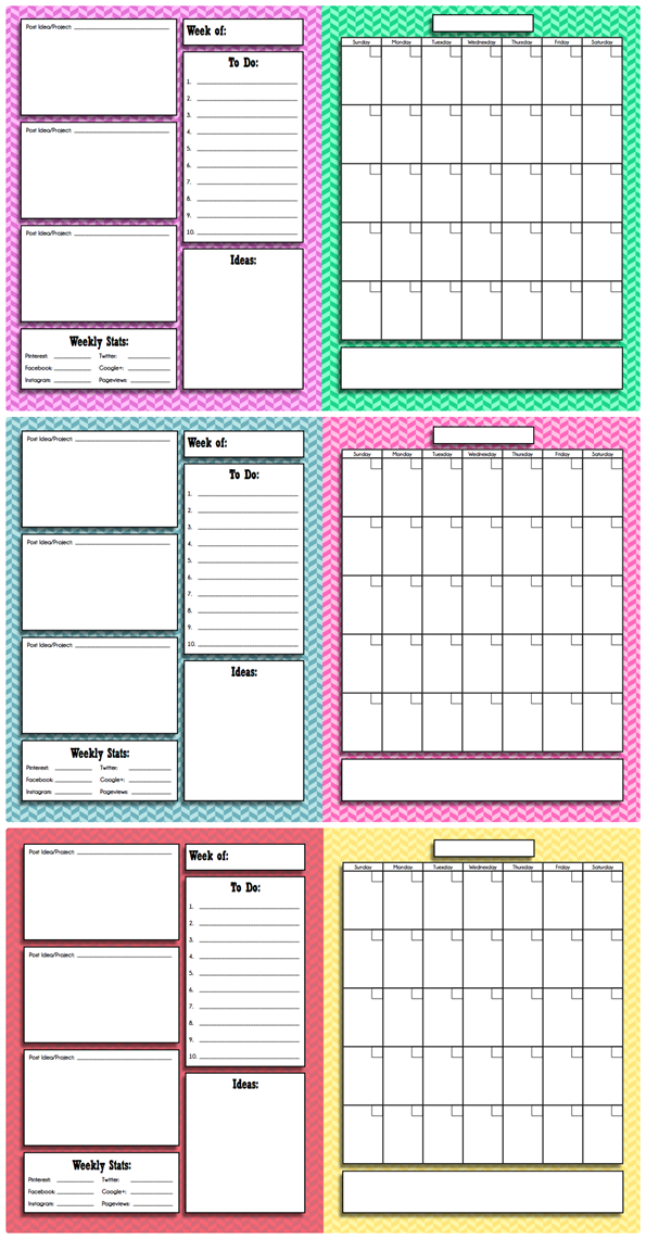 Free Printable Blog Planner and Calendar | Blog planner ...