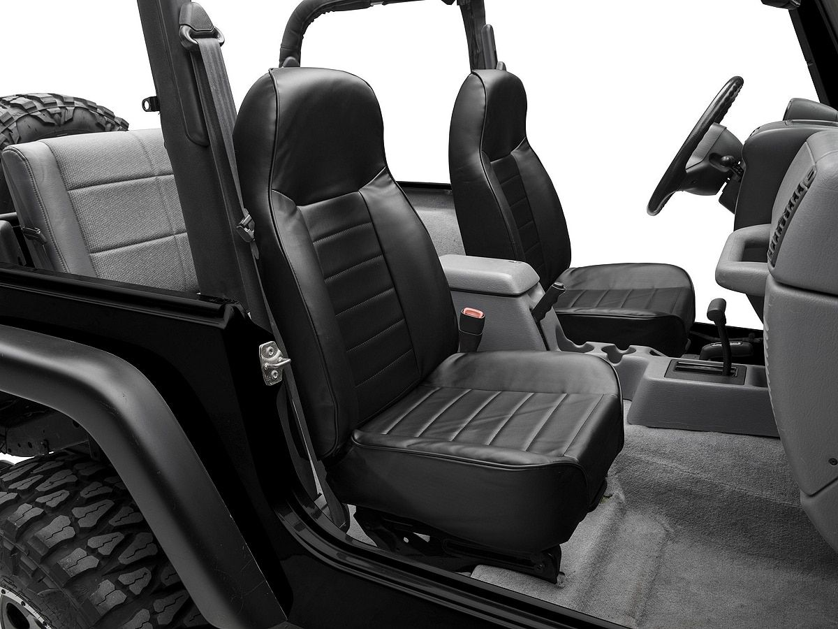 Smittybilt Standard Front Bucket Seat Black Vinyl 87 06 Jeep