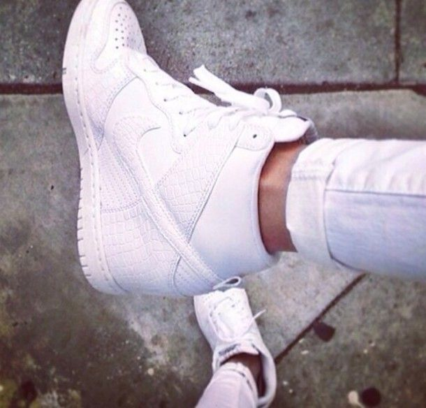 White Nike High Top Wedge Sneakers – $120 | White wedge