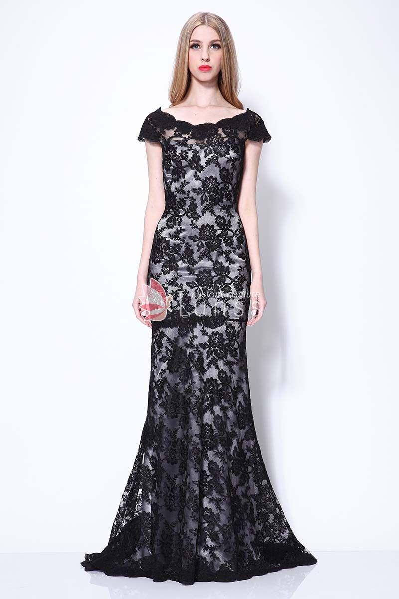 69535448fc5 Black Floral Lace Dress Stacy Keibler Inspired Elegant Bateau Neck Evening  Dress
