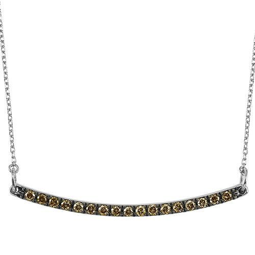 Sterling silver 1/4cttw brown diamond curved bar necklace