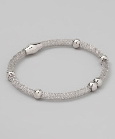 Take a look at this Sterling Silver Beaded Mesh Bracelet by Mariposa by Athra on #zulily today!