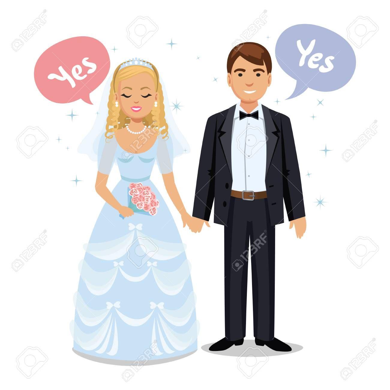 Happy Wedding Couple Wedding Couple Say Yes Bride And Groom On Their Wedding Day Wedding Couple Vector Illustration Isolated On White Background Cute Cartoo Bride And Groom Cartoon Happy Wedding Wedding
