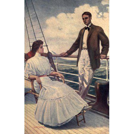 For Jacinta 1908 Couple on deck Canvas Art - George Hood (18 x 24)