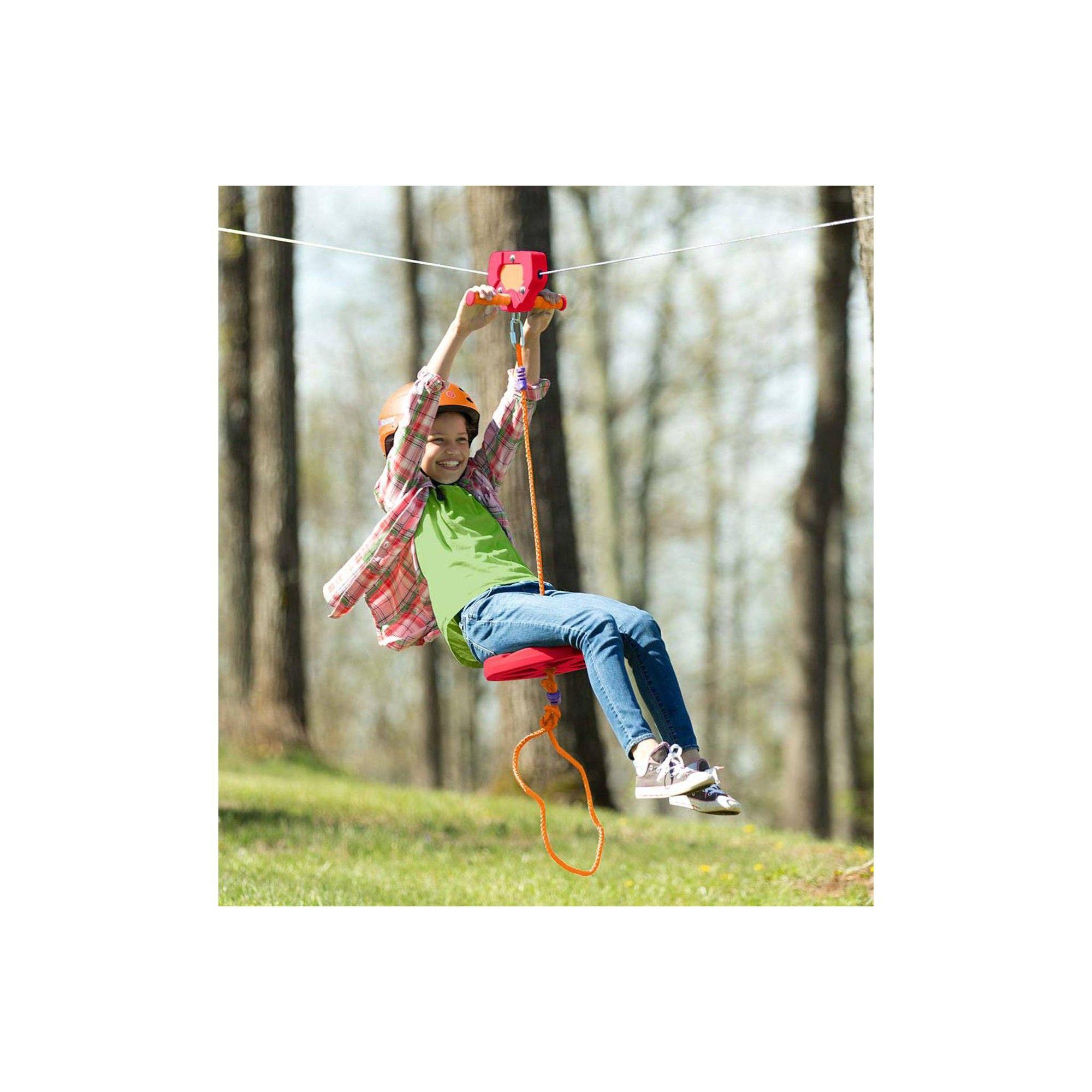 Red Backyard Zipline Kit For Kids, 80' L - Hearthsong ...
