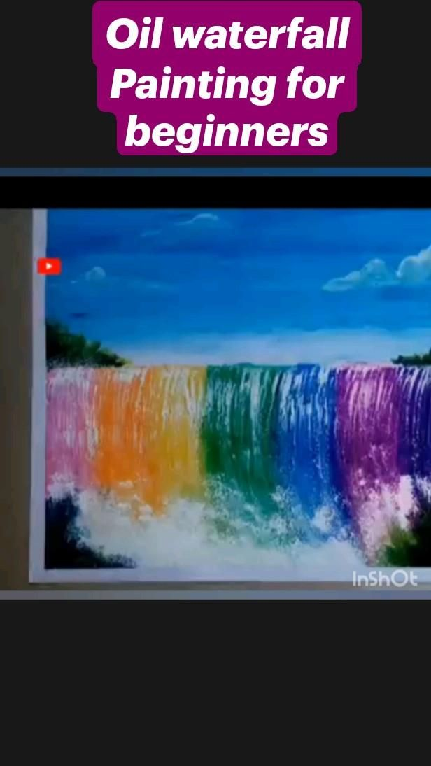 Oil waterfall Painting for beginners