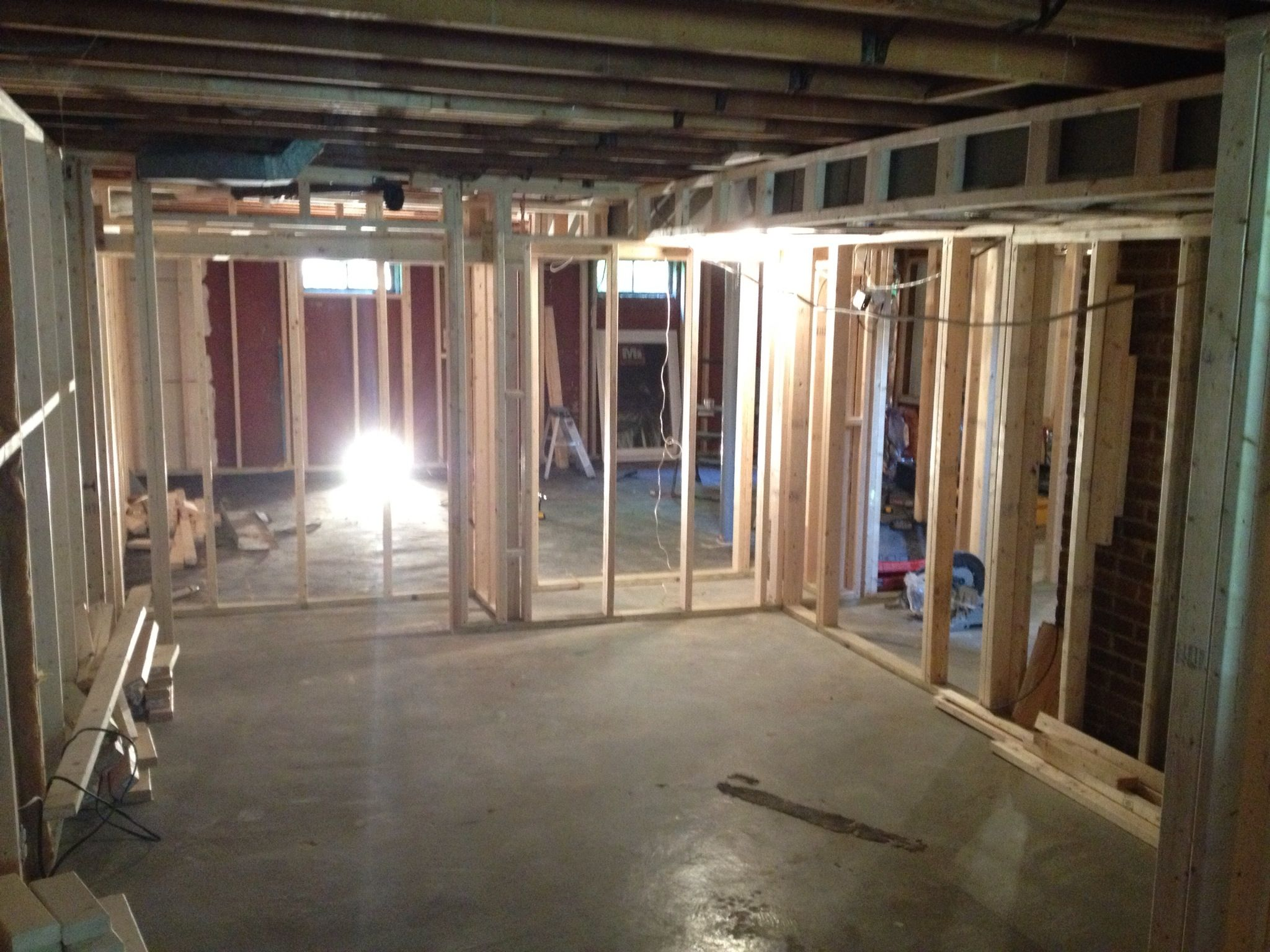 Partial Basement Framing 2 New Large Bedrooms W Small Walk Ins Gym Intended Home Theater Section Not Pictured Home Theater Design Home Theater Home