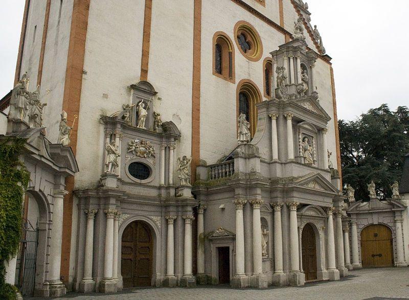 St. Matthias Abbey (Trier, Germany) The resting place of the Holy Apostle - If it ain't baroque, don't fix it!  This is gorgeous!   http://commons.wikimedia.org/wiki/File:Baroque_portal_of_St._Matthias'_Abbey,_Trier.jpg