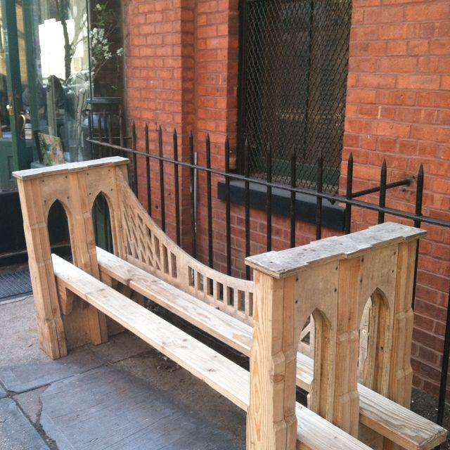 Hand made wood bench replica of the Brooklyn Bridge! Brooklyn, NY