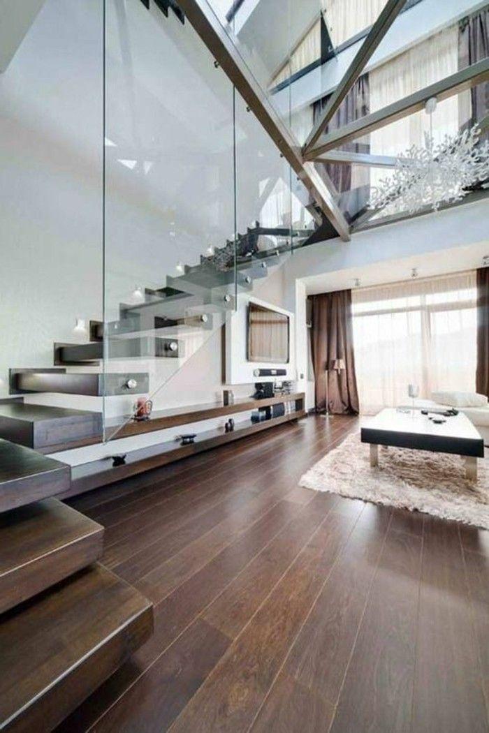 Glasgeländer Treppe und glaswand Gestaltung von Treppen Pinterest - wohnzimmer mit glaswnde