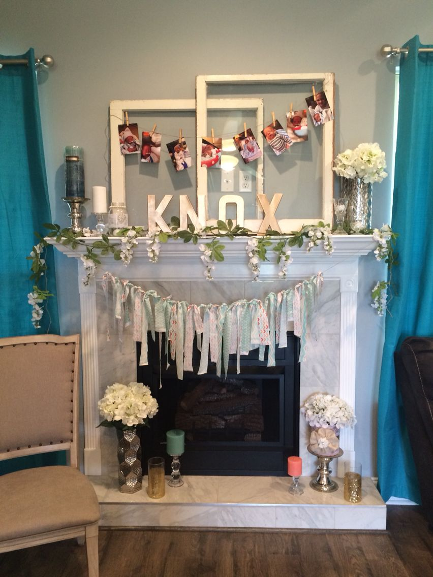 Boho chic baby shower for a boy We decorated the mantle on the fireplace Super easy  Terras